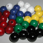 Painted Round Wooden Beads