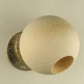"1-1/4"" Unfinished Round Wooden Beads 1/2"" hole"